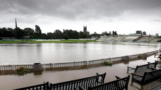 Worcestershire's New Road ground has been flooded following recent heavy rainfall