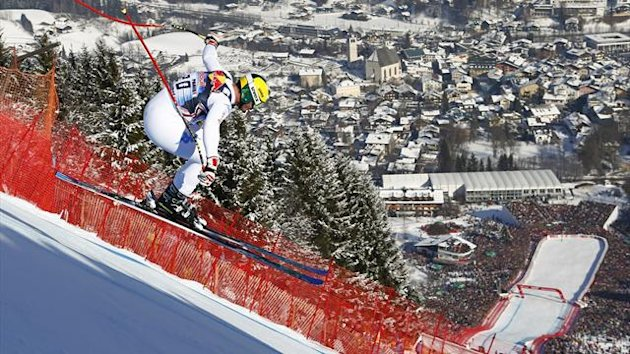 Dominik Paris takes part in the Kutzbuehel downhill (Reuters)