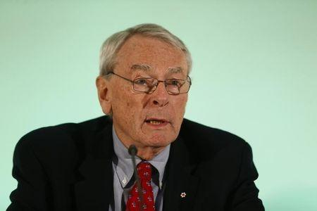 WADA former president, Pound, who heads the commission into corruption and doping in athletics, addresses a news conference in Unterschleissheim