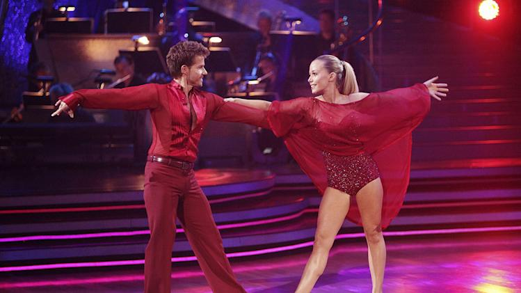 "Kendra Wilkinson and Louis Van Amstel perform on ""Dancing with the Stars."""