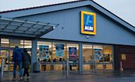 A picture shows a general view of a branch of British food retailer Aldi in London on February 9, 2013. The Europe-wide scandal over horsemeat sold as beef spread Sunday as six French retailers pulled products from their shelves and France promised to have the results of an urgent inquiry within days