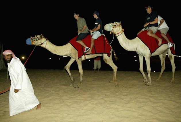 Andy Bichel, Nathan Hauritz and Matthew Hayden take a camel ride