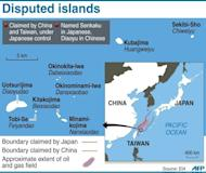 Graphic showing disputed islands in the South China Sea, claimed by China and controlled by Japan
