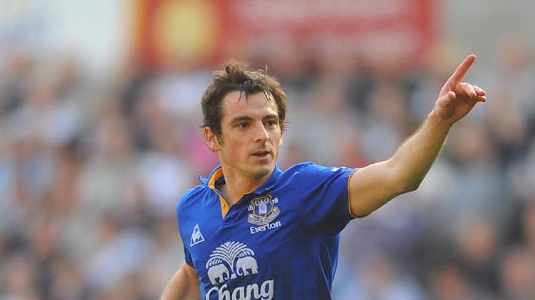 Steve Round is confident Leighton Baines, pictured, will still be an Everton player when the transfer window closes