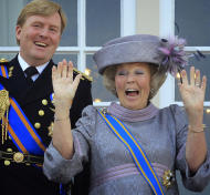 FILE - In this Sept. 21, 2010 file photo Dutch Queen Beatrix, right, and Dutch Crown Prince Willem-Alexander, left, wave to wellwishers from the balcony of Royal Palace Noordeinde after the Queen officially opened the new parliamentary year in The Hague, Netherlands. The Dutch Royal House says Queen Beatrix will deliver a nationally televised speech on Monday, Jan. 28, 2013 and speculation is growing that the popular monarch will announce she is to abdicate in favor of Crown Prince Willem Alexander. Beatrix, who turns 75 on Thursday, has ruled the nation of 16 million for more than 32 years and would be succeeded by her eldest son, Crown Prince Willem-Alexander. (AP Photo/Peter Dejong, File)