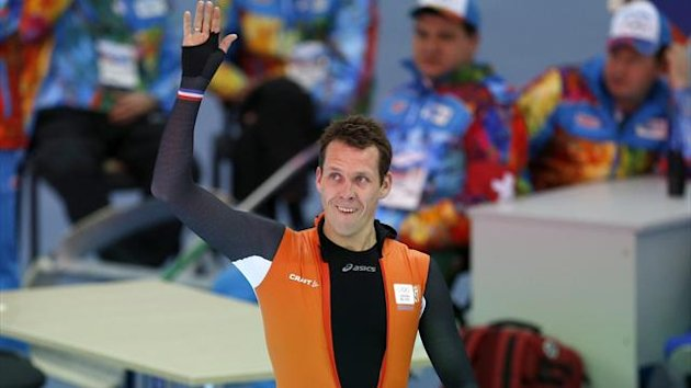 Stefan Groothuis of the Netherlands reacts after competing in the men's 1,000 meters speed skating (Reuters)