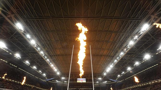 The roof is closed and fireworks are released, as the players arrive on to the pitch, before the international rugby union match between Wales and Argentina at the Millennium Stadium in Cardiff