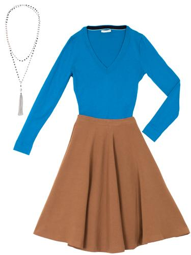 Full waist-cinching skirt + thin knit sweater