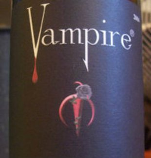 The label for Vampire wines is shown.