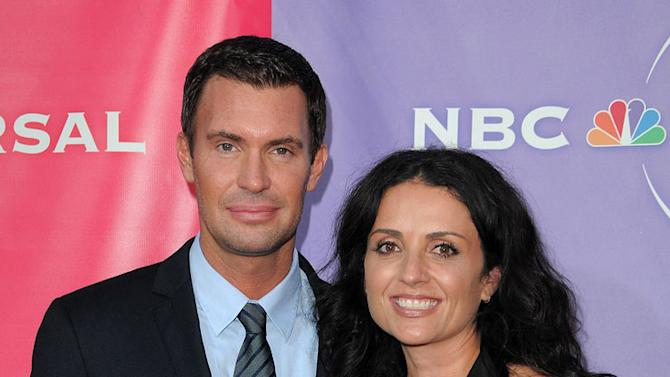 """""""Flipping Out's"""" Jeff Lewis and Jenni Pulos arrive at NBC Universal's 2010 TCA Summer Party on July 30, 2010 in Beverly Hills, California."""