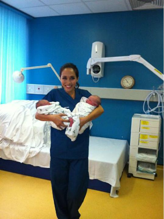 Celebrity photos: This week, Myleene Klass trained as a midwife for the day. At the end of her experience, she tweeted this picture of her with two of the newborn babies. She posted the image with the