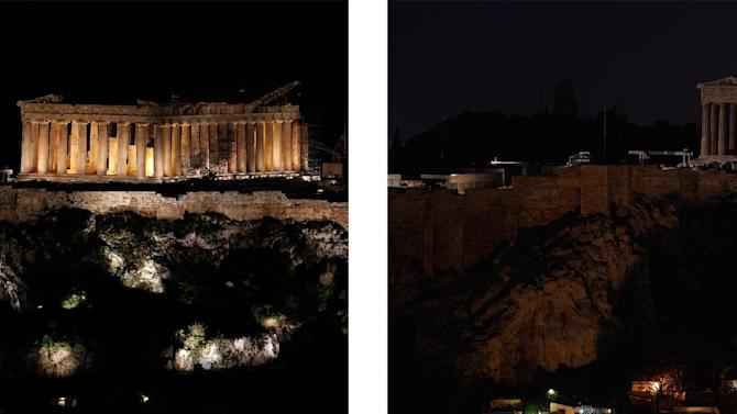 This combo image shows the Parthenon temple standing atop the Acropolis hill before and after turning off lights, to mark the annual Earth Hour in Athens, on Saturday March 23, 2013. In Greece, floodlights in several monuments and public buildings were switched off for one hour at 8:30 p.m. local time. Thousands of businesses and municipalities also dimmed their lights. (AP Photo/Kostas Tsironis)
