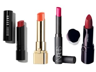 From left: Bobbi Brown Creamy Matte Lip Colour in Red Carpet; L'Oréal Paris Colour Caresse by Colour Riche Luminous Lipcolour in Fiery Veil; NARS Pure Matte Lipstick in Carthage; Shiseido Perfect Rouge in Dragon