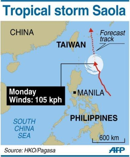 Path of Tropical Storm Saola, which brought heavy rains to large parts of the Philippines