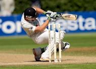 New Zealand's Martin Guptill is pictured in March 2012. New Zealand were up against it at stumps on the fourth day of their second Test against West Indies at North Sound after two breakthroughs for the hosts left them at 199 for 3, just 28 runs ahead