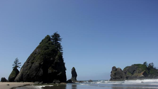 CORRECTS SPELLING FROM ARCHERS TO ARCHES - In this photograph taken Saturday, July 6, 2013, sea rock formations known as the Point of Arches stand under the afternoon sun near Shi Shi Beach in Washington state's Olympic National Parks. Point of Arches offers hikers and campers great spots to explore sea creatures during low tide. One of the most pristine beaches in Washington state, Shi Shi provides blissful disconnect to hikers and campers at the beach. (AP Photo/Manuel Valdes)
