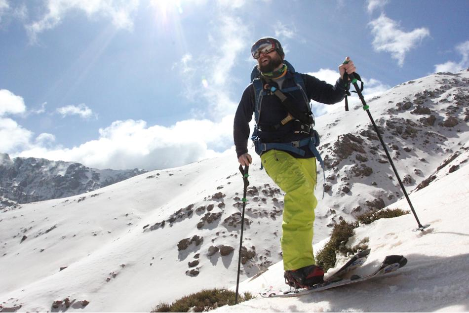 In a February 2014 photo provided by Sean Busby shows Sean Busby splitboarding through the High Atlas Mountains near Marrakech, Morocco. By riding the highest mountain range in North Africa, Busby bec
