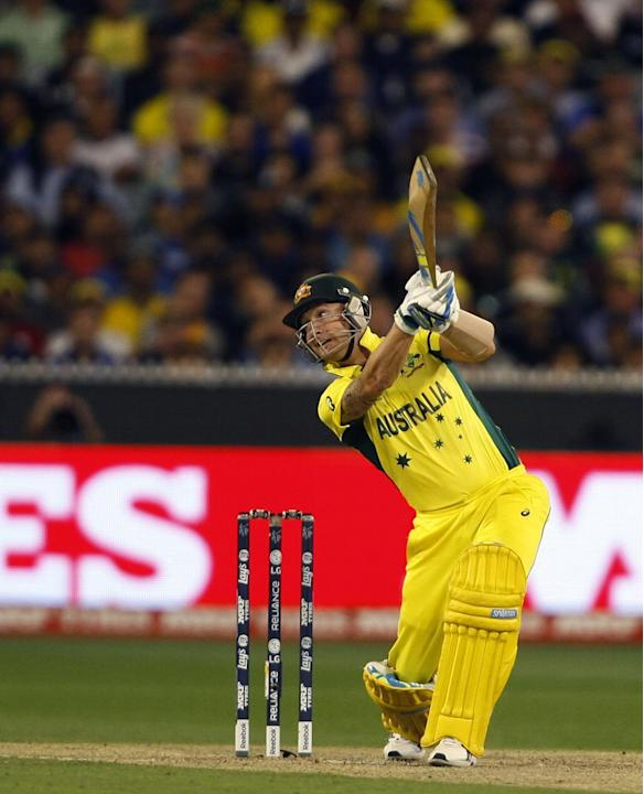 Melbourne (Australia): Australian batsman Michael Clarke in action during the final match of ICC World Cup 2015 between Australia and New Zealand at Melbourne Cricket Ground in Australia on March 29,
