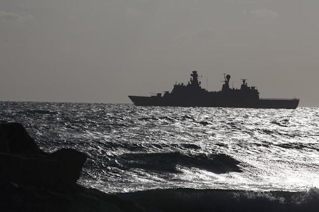 A Danish navy warship seen outside the southern Cypriot coastal town of Larnaca, February 3, 2014