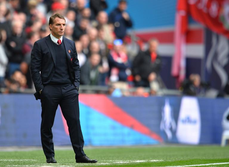 Liverpool's Northern Irish manager Brendan Rodgers looks on during the FA Cup semi-final between Aston Villa and Liverpool at Wembley stadium in London on April 19, 2015