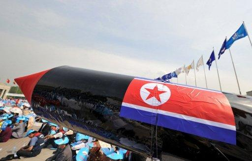 A mock North Korean missile is pictured during a rally denouncing N.Korea's nuclear test and missile launches, at the War Memorial of Korea, in Seoul, on June 4, 2009. N.Korea has repaired extensive rain damage at its nuclear test facility and could conduct a detonation on two weeks notice, a US think-tank claims, citing satellite imagery analysis.