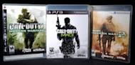 """A copy of """"Call of Duty: Modern Warfare 3"""" is displayed between its predecessors, """"Call of Duty 4: Modern Warfare"""" (L) and Call of Duty: Modern Warfare 2"""" (R) in 2011. A free version of the blockbuster video game """"Call of Duty"""" will be offered to players in China, the developers said Tuesday"""