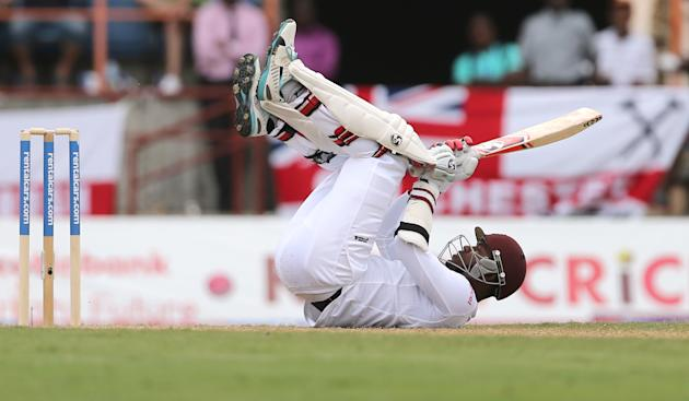 Cricket: West Indies Marlon Samuels avoids a bouncer from Stuart Broad
