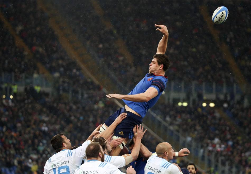 France's Flanquart jumps for a line during their Six Nations Rugby Union match against Italy at the Olympic stadium in Rome