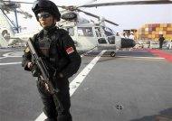 A Chinese commando guards the helipad of the Chinese frigate Yancheng docked at the port of Limassol January 4, 2014. REUTERS/Andreas Manolis