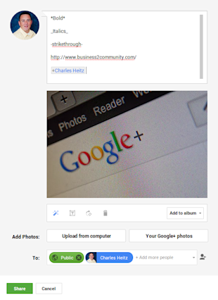How To Create The Perfect Google Plus Post image googlepluspostwithmention