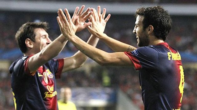 Barcelona, Lionel Messi and Cesc Fabregas, October 2012