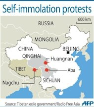 Graphic showing the areas where six Tibetans set themselves on fire in China, according to the Tibetan exile government and Radio Free Asia