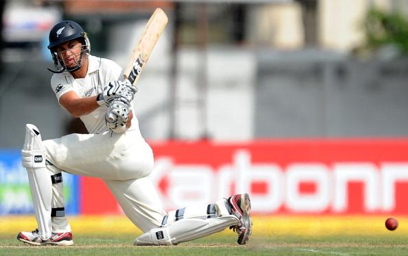 New Zealand captain Ross Taylor plays a shot during the first day of the second and final Test match between Sri Lanka and New Zealand at the P. Sara Oval Cricket Stadium in Colombo on November 25, 20