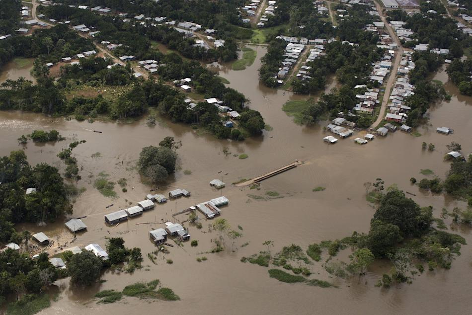 An aerial view shows the town of Tabatinga inundated with floodwaters from the Solimoes River in the state of Amazonas