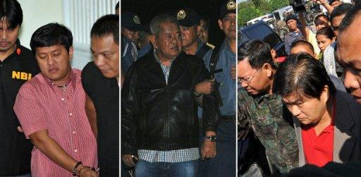 The prime suspects in the Philippine's worst political massacre: Andal Ampatuan (L); former governor of the Philippine province of Maguindanao Andal Ampatuan Senior (C); and Zaldy Ampatuan (R-in red shirt). Outrage has followed revelations that dozens of members of the Ampatuan clan are candidates in the 2013 elections, media and rights groups said Friday.