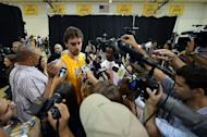 EL SEGUNDO, CA - OCTOBER 01: Pau Gasol #16 of the Los Angeles Lakers speaks to the media during Media Day at Toyota Sports Center on October 1, 2012 in El Segundo, California. (Photo by Harry How/Getty Images)