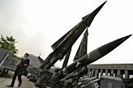"File photo shows missiles displayed at the war museum in Seoul. North Korea demanded Thursday that South Korea apologise for what it called insults during major anniversary festivities, or face a ""sacred war"", as Seoul unveiled a new missile to deter its neighbour"