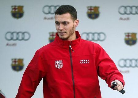 Barcelona's Thomas Vermaelen attends a commercial event at Camp Nou stadium in Barcelona