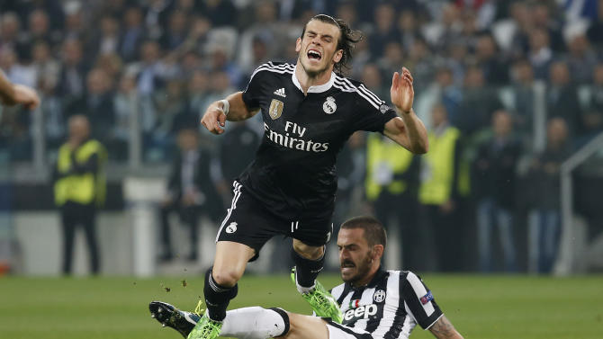 Football: Juventus's Leonardo Bonucci in action with Real Madrid's Gareth Bale
