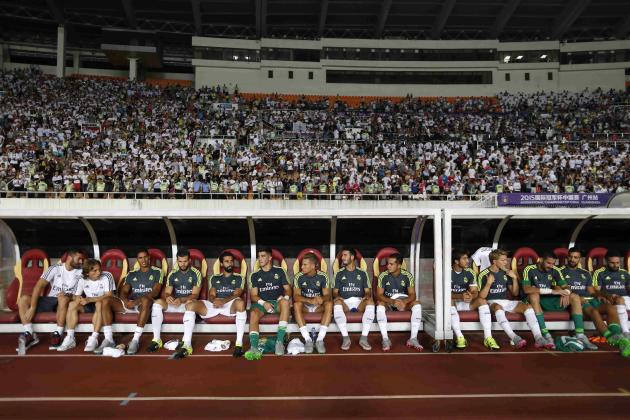 Real Madrid sit on bench before International Champions Cup soccer match against Inter Milan at Tianhe Stadium in the southern Chinese city of Guangzhou, China