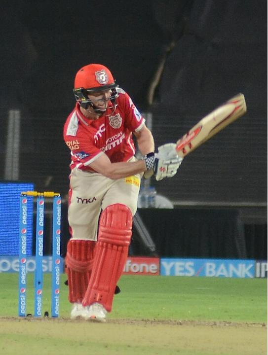 Pune: Kings XI Punjab captain George Bailey in action during an IPL-2015 match between Kolkata Knight Riders and Kings XI Punjab at Maharashtra Cricket Association Stadium, in Pune, on April 18, 2015.