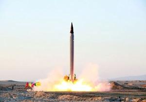 An Iranian Emad rocket is launched as it is tested at an undisclosed location