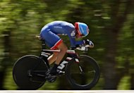 David Zabriskie, riding for Garmin-Barracuda, competes in the individual time trial during stage five of the Amgen Tour of California, on May 17, in Bakersfield, California. Zabriskie won the stage, taking overall tour lead