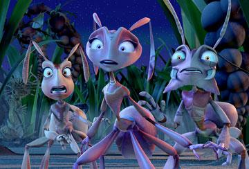 Kreela (voiced by Regina King ), Hova (voiced by Julia Roberts ) and Fugax (voiced by Bruce Campbell ) in Warner Bros. Pictures' The Ant Bully