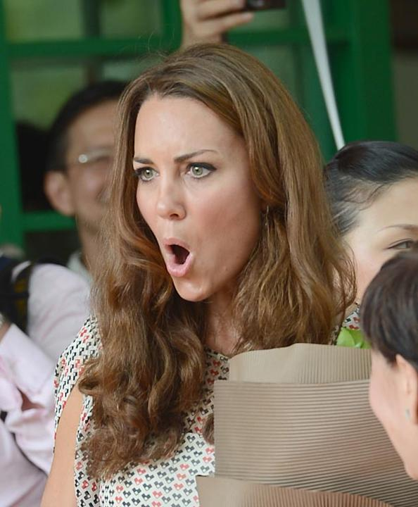 Kate Middleton omg! moments: The moment she pulled her own omg! face. We do a lot of omg-face-pulling in this office, so we were chuffed when we saw Kate Middleton doing her best *shocked face* The Du