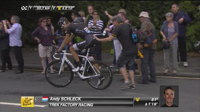 Tour de France - Collision with spectator rules Schleck out of Tour