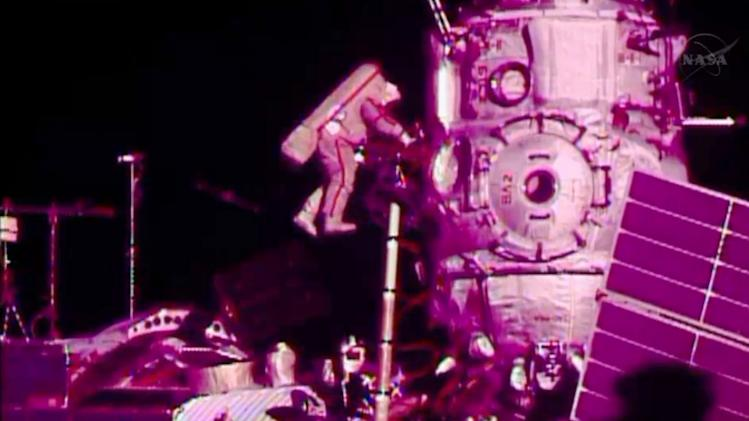 In this image from video made available by NASA, Russian cosmonaut Fyodor Yurchikhin participates in a spacewalk outside the International Space Station on Friday, Aug. 16, 2013. Yurchikhin and Aleksandr Misurkin are to install cabling for a new lab due to arrive at the station in a few months. (AP Photo/NASA)
