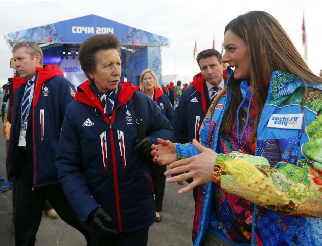 Britan's Princess Anne talks with Russian pole vaulter and Mayor of the Coastal Cluster Olympic Village Isinbayeva, uring the welcoming ceremony for British Olympic team in the Athletes Village
