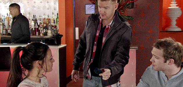 Unwelcome guest: Gary gatecrashes Tina and Tommy's night out in Corrie (Credit: ITV)