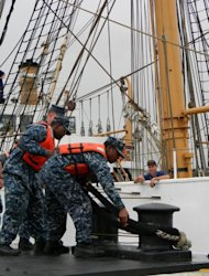 Coast Guard tall ship Eagle ties up at New London sub base to avoid Hurricane Irene